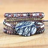 haifiy 5 strati bracciale in pelle naturale in pietra squisita pietre miscelate donne fashion wrap bracciale bracciale boho bracciale gioielli novità gioielli regali di natale speciali