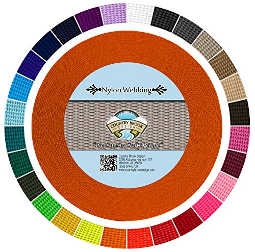 Country Brook Design 5/8 Inch Orange Heavy Nylon Webbing (50 Yards)