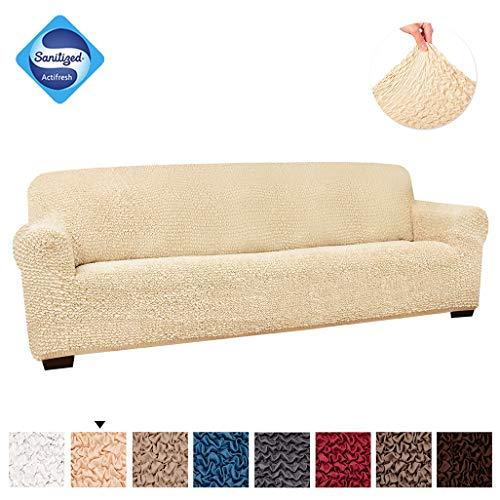 PAULATO BY GA.I.CO. 4 Seater Sofa Cover - Couch Cover - Sofa Slipcover - Cotton Fabric Slipcover - 1-Piece Form Fit Stretch Stylish Furniture Cover - Microfibra Collection - Vanilla (Sofa)