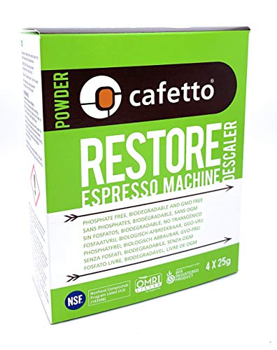 Cafetto Restore Espresso Machine Descaler, Coffee Machine Cleaning Powder for Use In Organic Systems (8 Single Use Packets)