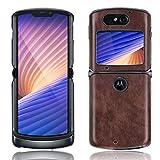 Futanwei Klassische Lederhülle für Motorola Razr 5G Hülle (2020), [Slim und Lightweight] Luxus Classic PU Leder Back Cover Handyhülle für Motorola Razr 5G Version, (Lychee Muster - Braun)