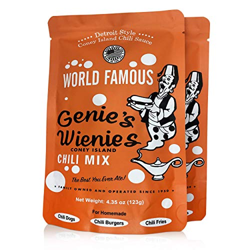 Genie's Wienies Chili Mix 2 Pack, Coney Island Style Chili Sauce Seasoning Packets with 9 Special Spices , No Artificial Flavors, 4.35oz