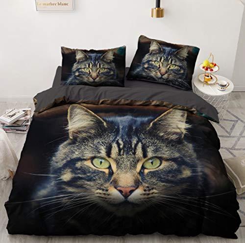 RTSE Bettbezug, Tiere, Katzen, Igel, Bettwäsche, Bettbezug, 3D-Aufdruck, Mikrofaser, weich und bequem, für Kinder und Jugendliche, 135 x 200 cm