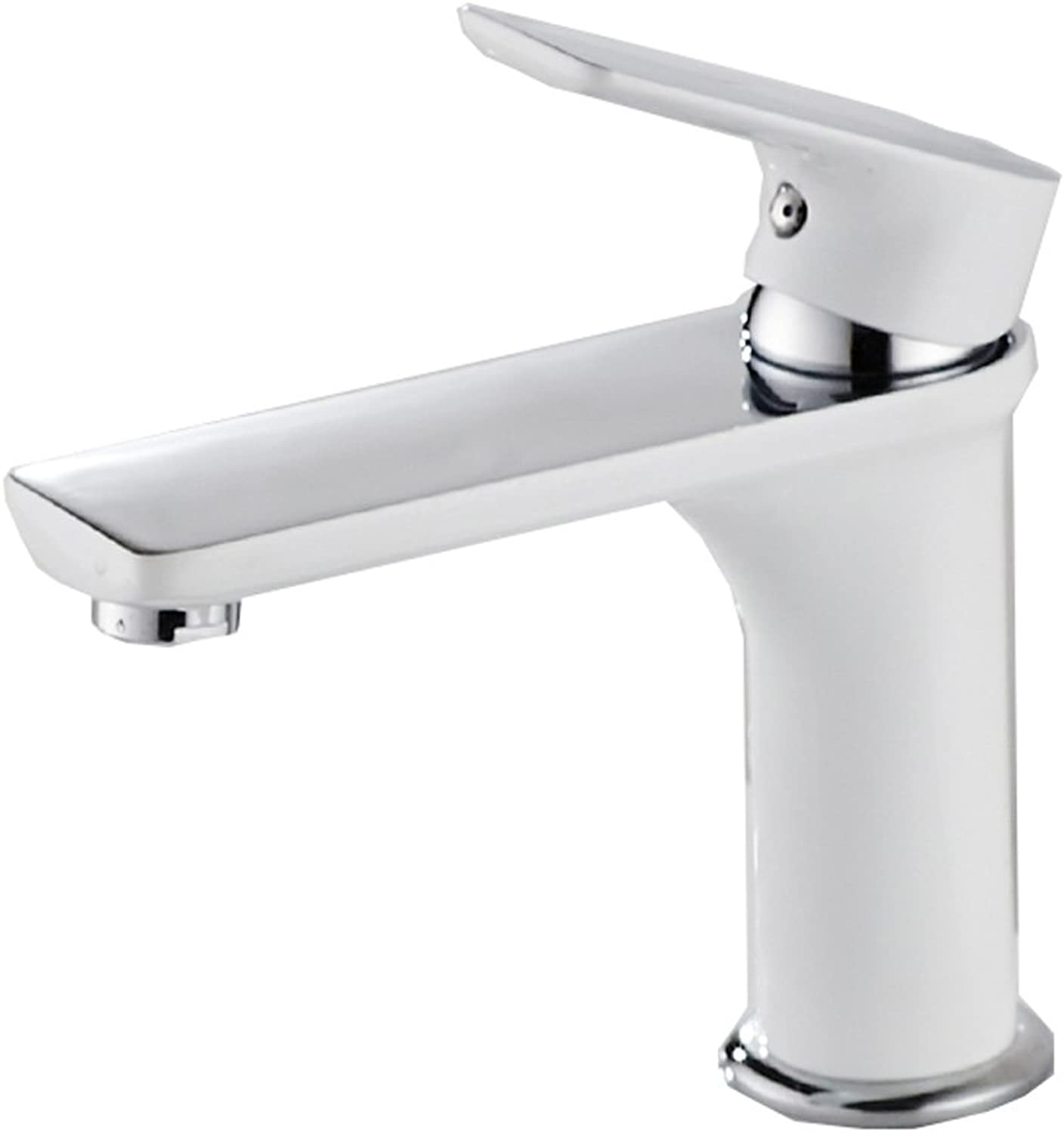 HAODAMAI Paint Black And White Electroplated Copper Faucet Single Hole Hot And Cold Basin Bathroom Hand-washing Aperture 32mm To 40mm Can Be Installed (color   Roasted white paint plating)