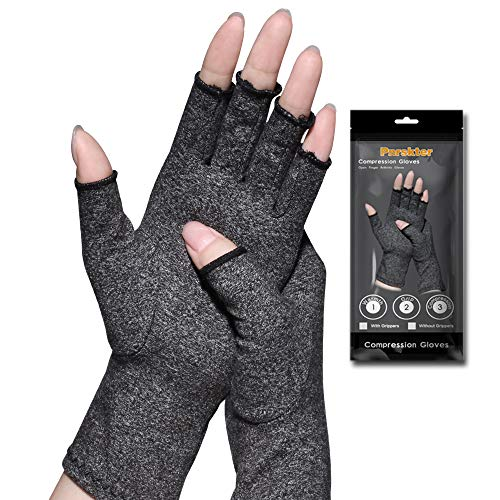Arthritis Gloves,New Material, Compression for Arthritis Pain Relief Rheumatoid Osteoarthritis and Carpal Tunnel, Premium Compression & Fingerless Gloves (Dark Gray, L)