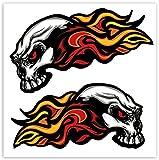 SkinoEu® 2 x Autocollants Stickers Vinyle Tête De Mort Skull Crâne Flamme Automobile Minibus Voiture Fenêtre Porte Auto Moto Casque Vélo Tuning B 35