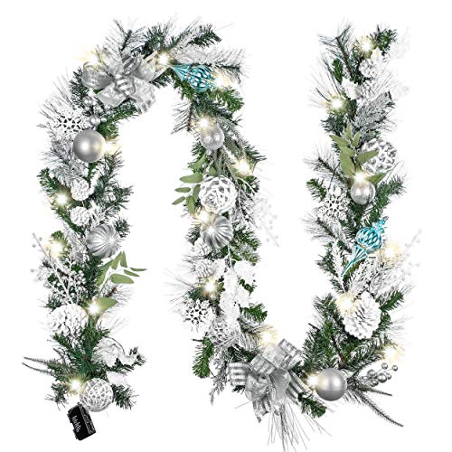Valery Madelyn Prelit 9 ft/106 inch Frozen Winter Silver White Christmas Garland Decorations with Ball Ornaments Pinecones, Battery Operated 20 LED Lights for Outdoor Christmas Tree Mantel Fireplace