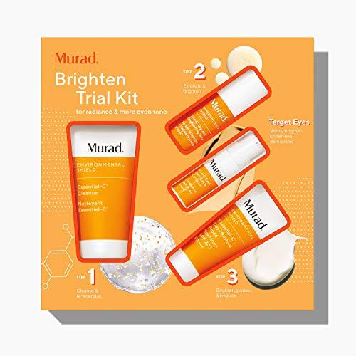 Murad Brighten Trial Kit – Brightening Skin Care Kit - Daily Protection Creams Set with Trial Size Essential-C Cleanser, Essential-C Day Moisture, Vitamin C Serum & Dark Circle Eye Cream