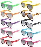FSMILING Protección UV400 Neon Gafas de Sol Fiesta Pack Vintage Retro para Adulto Niños(10 Pieza Multicolor)