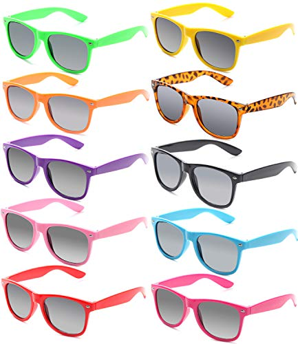 FSMILING Nerd Bunt Party Sonnenbrille Lustige Retro Neon Kinder Damen Herren Party Brille Set