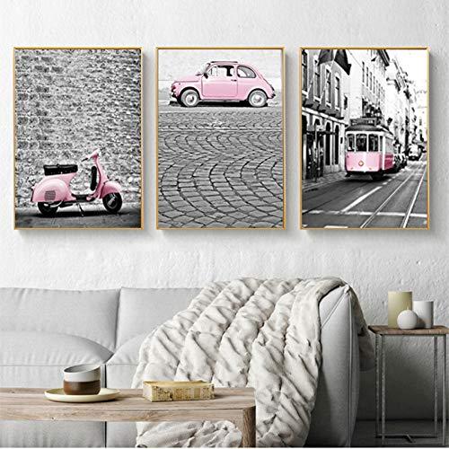 RHBNVR 30 * 40cm 3 stuks retro mode muur roze bus auto's motorfiets woonkamer decoratie zwart wit kunst canvas schilderij