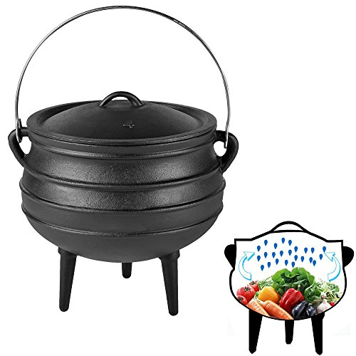 Melko® BBQ Dutch Oven mit Deckel und Deckelheber aus Gusseisen, Topf zum Grillen, Braten, Garen, Backen oder für Eintöpfe, 8 Liter