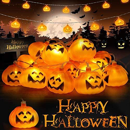 Halloween Lichterkette, Halloween Kürbis Deko Lichterkette, Kürbis Lichterkette für Halloween, 3m 20 LEDs Kürbis Lichter Batteriebetrieben für Halloween Party Hause Garten Dekoration