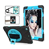iPad 9.7 2018/2017 Case, ZERMU Heavy Duty Three Layer Shockproof Rugged Cover Hard PC+Silicone Hybrid Impact Resistant Armor Case with Built-in Stand+Hand Strap+Shoulder Strap for iPad 6th Generation