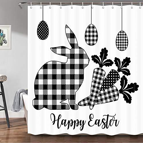 JAWO Frohe Ostern Duschvorhang, süßes Kaninchen mit Ei, Dekor, Büffelkaro-Design, Stoff-Duschvorhänge für Badezimmer, schwarz & weiß, Stoff-Badvorhang mit Haken, Set, 170 x 170 cm