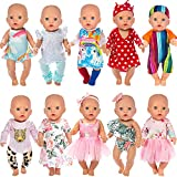 Ecore Fun 10 Set 14-18 Inch Doll Clothes Outfits Casual Wear Pjs for 43cm New Born Baby Dolls, 15 Inch Baby Doll, American 18 Inch Girl Doll