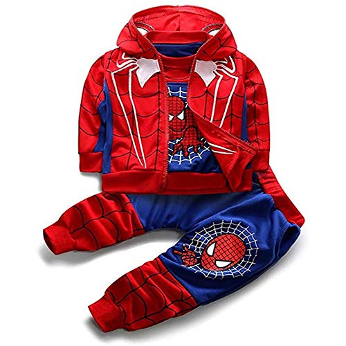 DTZW 3-teiliges Kleinkind Little Kids Baby Boys Outfits Set Langarm Pullover Sweatshirt Weste Hoodie Hose Kleidung Anzug Cosplay(Color:Blau,Size:120cm)