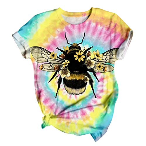 T Shirts for Women 3D Cartoon Animal Painted T-Shirt Funny Graphic Tees Summer Short Sleeve Tops Bee