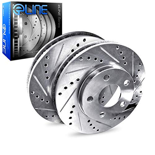 Rear R1 Concepts eLine Silver Drilled Slotted Brake Rotors