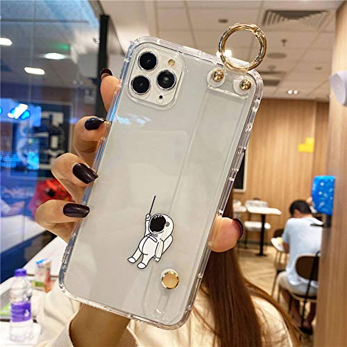 FYMIJJ Funny Astronaut Clear Wristband Phone Holder TPU Funda para iPhone 12 Pro MAX Mini 11 SE 2 X XR XS 7 8 Plus Funda Transparente Suave, b, iPhone 12 Mini
