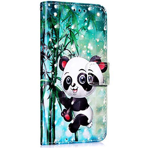 Saceebe Compatible avec Huawei Mate 10 Lite Housse Portefeuille Cuir Coque Fille 3D Bling Glitter Motif Coque Porte-Cartes Support Stand Clapet Antichoc Etui Housse de Protection,Panda Bambou