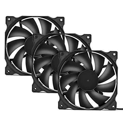 upHere 120 mm tyst fläkt för datorfodral, CPU-kylare och radiatorer ultrasnabb datorväska med hög luftflöde, 3-pack, 12BK3-3