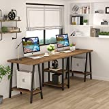 Tribesigns 94.5 Inches Computer Desk, Extra Long Two Person Desk with Storage Shelf (Retro Brown)