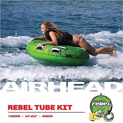 Product Image 3: Airhead Rebel Kit | 1 Rider Towable Tube w/Rope & Pump, Multi, One Size (AHRE-12)