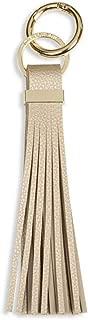 Lora Metallic Gold Women's Vegan Leather Tassel Keyring with Carabiner Ring