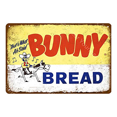 Bunny Bread Vintage Style Metal Sign Iron Painting for Indoor & Outdoor Home Bar Coffee Kitchen Wall Decor 8 X 12 Inch