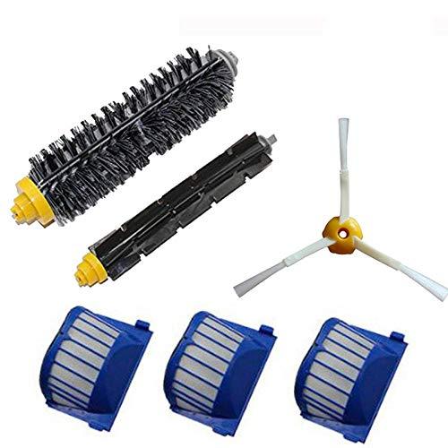 Repuestos Para Aspiradoras Ajuste para irobot roomba 600 serie de cerdas; Pincel de batidor flexible 3-cepillo brazado Aero Vac Filters Kit Piezas de repuesto Kits de limpieza ( Color : 7pcs set )
