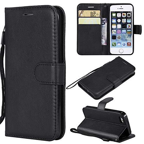 Artfeel Flip Brieftasche Hülle für iPhone 5S/5, iPhone SE2/SE Premium PU Leder Handyhülle mit Kartenhalter,Retro Bookstyle Stand Abdeckung mit Magnetverschluss Handschlaufe Hülle-Schwarz