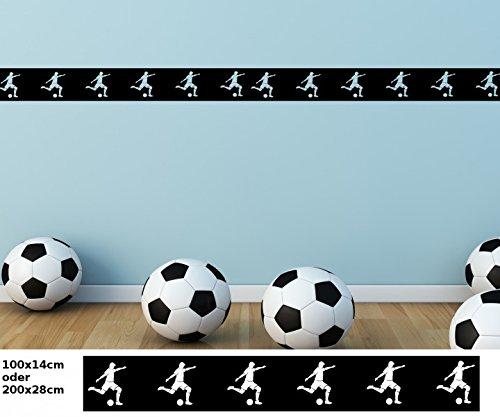 Wandtattoo selbstklebend Bordüre Fussball Ball Sport Fliesenaufkleber Border Set Aufkleber Banner Wohnzimmer 1U055, Farbe:Weiß Matt;Länge x...
