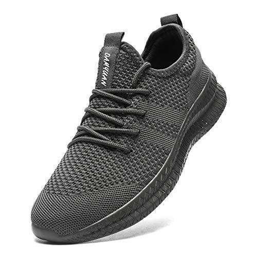 MGNLRTI Zapatillas Sneakers Running para Hombre Aire Libre y Deporte Transpirables Casual Zapatos Gimnasio Correr Zapatos de Tenis Gris 46EU