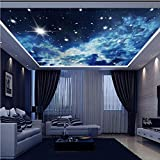 Dalxsh Large Custom Wall Mural 3D Ceiling Murals Wallpaper Blue Sky Stars Universe 3D Photo Mural for Hall Room 3D Wall Murals-150X120Cm