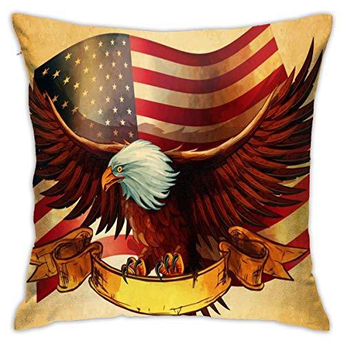 Funda de cojín suave con diseño de águila calva de la bandera americana, fundas de almohada decorativas modernas y cuadradas, 40,6 x 40,6 cm