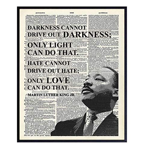 Martin Luther King Inspirational Love Quote Dictionary Wall Art - 8x10 Photo, Home Decor Poster Print - Gift for MLK, Black History Month, African American, Civil Rights Fan, Teacher, Classroom