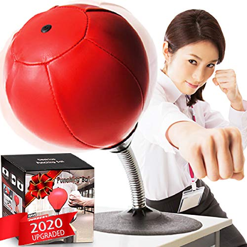 CozyBomB Desktop Punching Bag Gag Gifts for him - Stress Buster Relief Free Standing Desk Table Boxing Punch Ball Suction Cup Reflex Strain and Tension Toys for Boys Him Father Kids (Red)