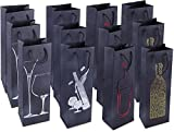 Wine Gift Bags with Handles and Foil Print Design (4.6 x 13.75 x 4 in, 12-Pack)