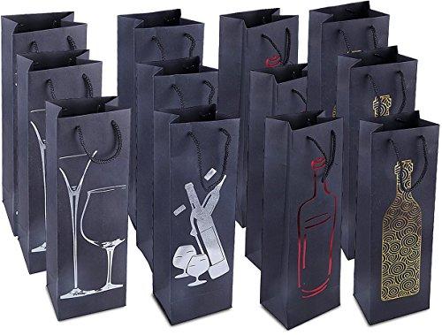 Wein-Geschenktüten - 12-Pack-Wein-Taschen für Jubiläum, Geburtstag, alle Anlässe - 4 verflachte verschönerte Designs, Spirituosen und Weinflasche Geschenktüten mit Griffen, 4,7 x 3,7 x 15,5 Zoll