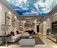 カスタム青空と白の3D天井の壁紙家の装飾リビングルームの寝室のポスターウォールアート天井壁画ウォールステッカー-300x210cm/118.2x82.7inch