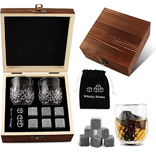 Y-POWER Juego de vasos de whisky con 6 piezas de piedras de whisky, bourbon enfriantes en caja de madera, día del padre, cumpleaños, aniversario