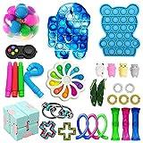 Fzfjma Fidget Toys Pack DIY Push Bubble Fidget Sensory Toy Pack Sensory Fidget Toys Set Squeeze Dice Draw Rope Cube Toy for Kids Adults 26pcs-B