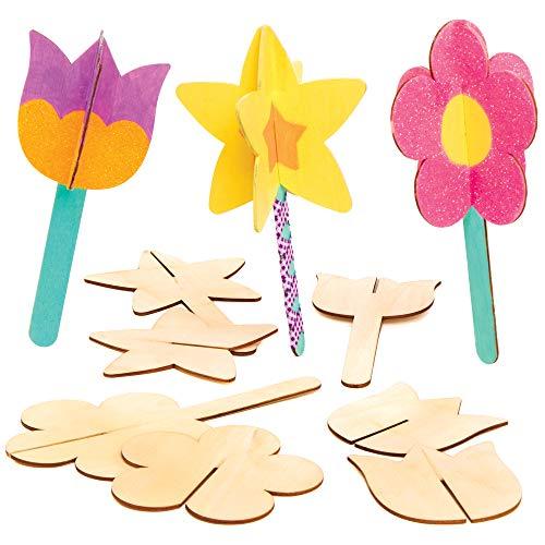 Baker Ross 3D-Blumendeko aus Holz - Bastelset für Kinder (8 Stück)
