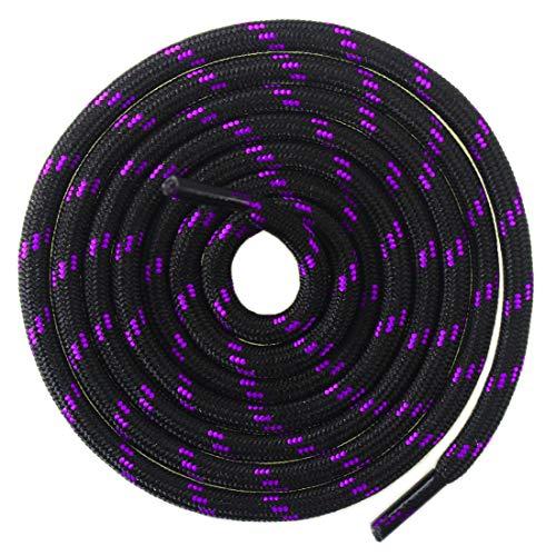 Mshega Round Athletic Shoelaces Dot Hiking Shoe Laces(Black Purple,140)