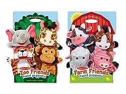 Melissa & Doug Animal Bundle Farm & Zoo Friends Hand Puppets