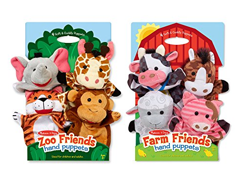 Melissa & Doug Animal Hand Puppets Set, The Original Zoo Friends and Farm...