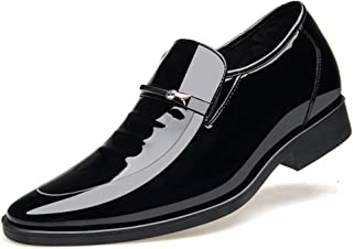 RongAi Chen Oxfords for Men Business Casual Loafers Slip On Pointed Toe Patent Leather 6cm Invisible Height Increase Rhinestone Anti-Slip (Color : Black, Size : 6.5 UK)