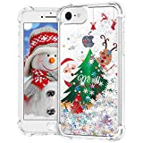 Ruky Christmas Case for iPhone 6 6s 7 8 SE 2020, Glitter Flowing Liquid Soft TPU Bumper Protective Cute Merry Christmas Design Women Girls Children Case for iPhone 6 6s 7 8 SE 2020, Christmas Tree