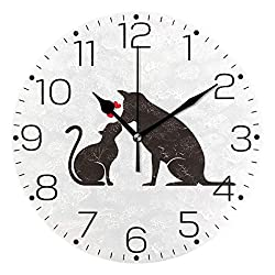 ZZAEO Black Cat Dog Silhouette Animals Wall Clock Fashion Frameless Decorative Clock for Kitchen Bedroom Living Room Classroom Home Decor - Round Shape